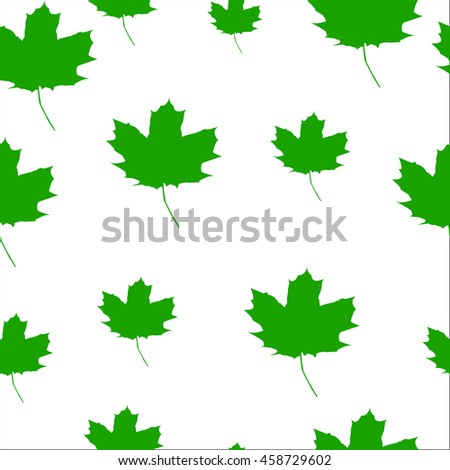 Autumn Set of green Maple Leaves on White Background, Vector Version. seamless texture - stock vector