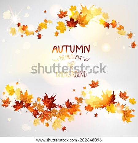 Autumn swirl of maple leaves. Place for text. - stock vector