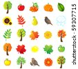 Autumn Symbols And Elements, Isolated On White Background, Vector Illustration - stock vector