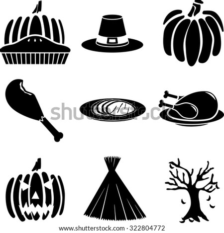 autumn symbols set - stock vector