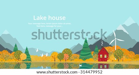 Autumn, the house on the lake in the mountains - stock vector