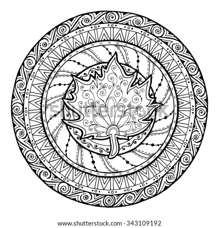 Autumn theme. Circle tribal doodle ornament. Hand drawn maple leaf art mandala. Black and white ethnic background. Zentangle pattern for coloring book for adults and kids. - stock vector