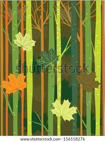 Autumn Tonal Trees - stock vector