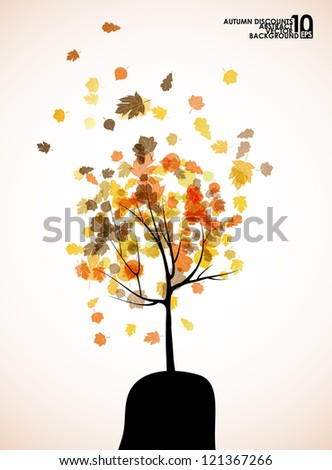 autumn tree background, eps10 - stock vector