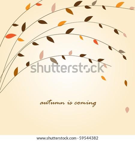 Autumn tree branch. Vector background - stock vector