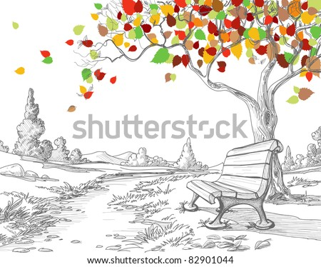 Autumn tree, falling leaves - stock vector