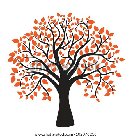 autumn tree for your design    Cartoon Fall Tree With Branches