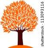 autumn tree isolated on White background. Vector Illustration - stock photo
