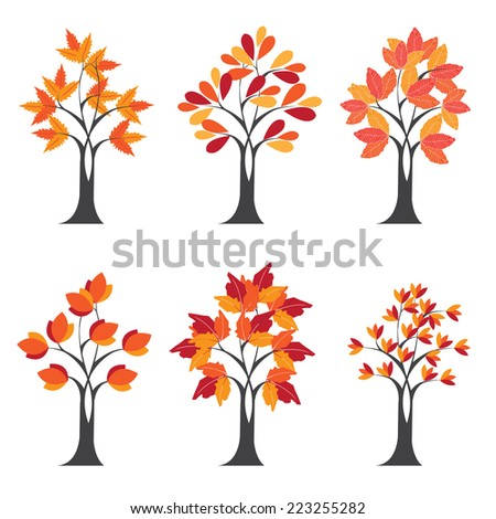 Autumn Tree set. vector - stock vector