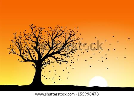 Vector: autumn tree silhouette with birds flying   Kulekutt ...