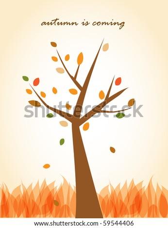 Autumn tree. Vector background - stock vector