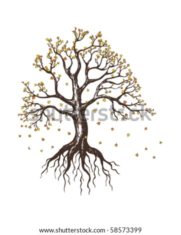 autumn tree with falling leaves - stock vector