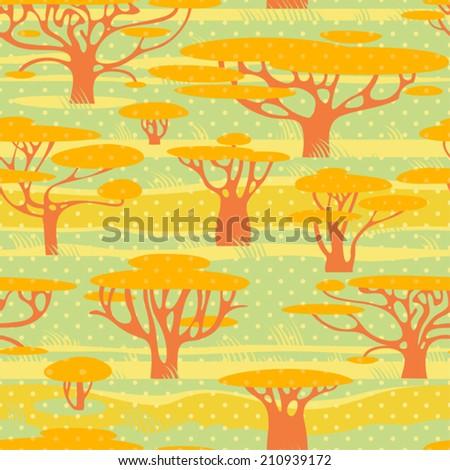 Autumn trees. Seamless polka dots background.  Vector pattern. - stock vector