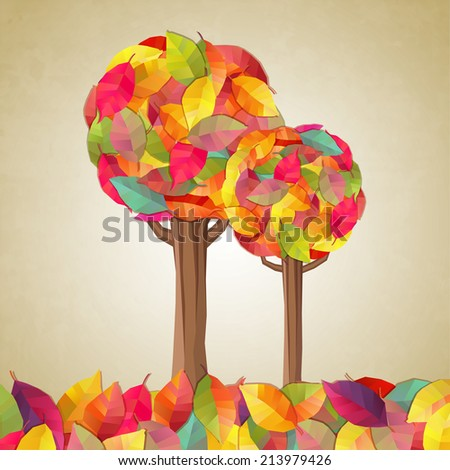Autumn trees. Vector illustration - stock vector