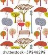Autumn trees, vector seamless pattern - stock vector