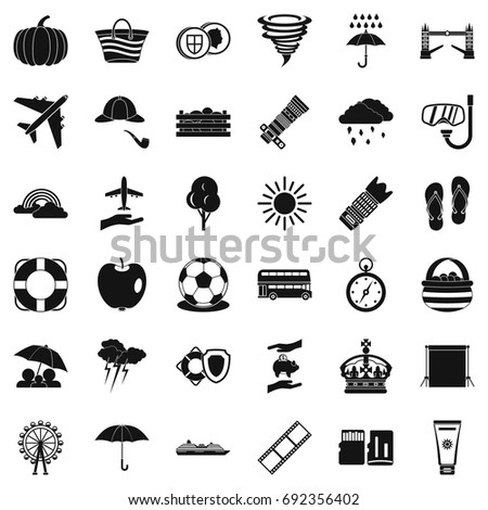 Autumn umbrella icons set. Simple style of 36 autumn umbrella vector icons for web isolated on white background