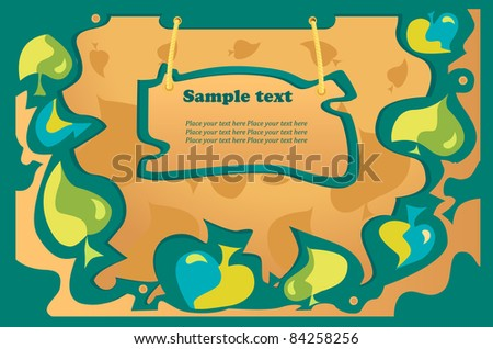 autumn vector background,green, blue leaf fall,wood tablet for text - stock vector