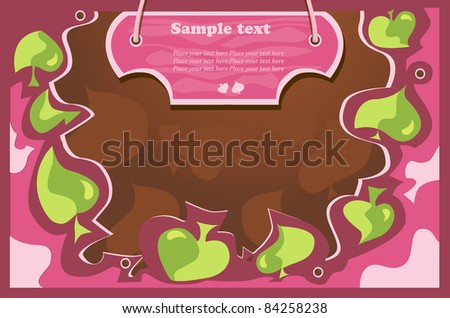 autumn vector background,green, leaves,pink wood tablet for text - stock vector