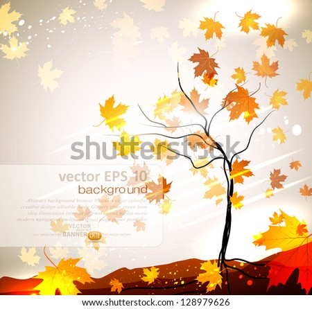 Autumn vector background with a tree and flying leaves - stock vector