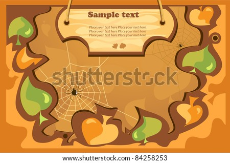 autumn vector background with green, orange leaves, wood tablet for text - stock vector