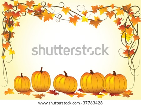 Autumn vector illustration with leaf and halloween pumpkins