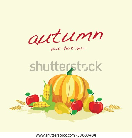 Autumn vegetables on plain background with space for text. EPS10 vector format. - stock vector