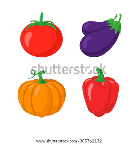 Autumn vegetables symbols isolated on white.  - stock vector