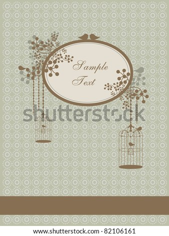autumn vintage design with birds and cages - stock vector