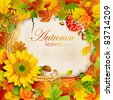 Autumn vintage greeting card on colorful leaves background with place for text. Vector illustration. Check my portfolio for raster version. - stock vector