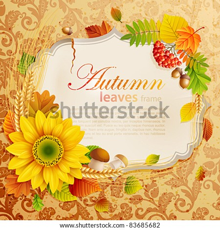 Autumn vintage greeting card with colorful leaves and place for text. Vector illustration. Check my portfolio for raster version. - stock vector