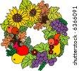 Autumn Wreath - stock vector