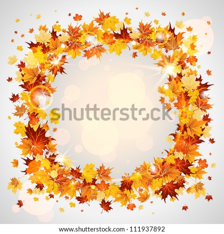 Autumn wreath of maple leaves with space for text - stock vector