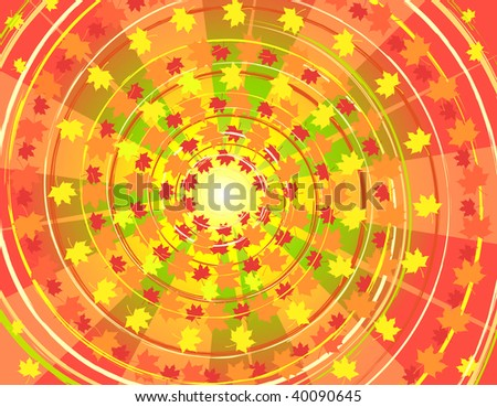 Autumnal background, all parts closed, editing is possible - stock vector