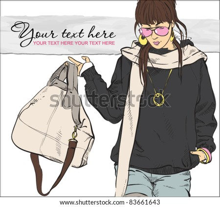 Autumnal fashion girl on a grunge background. Vector illustrator. Place for your text - stock vector