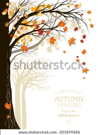 Autumnal forest with falling maple leaves. Place for text. - stock vector