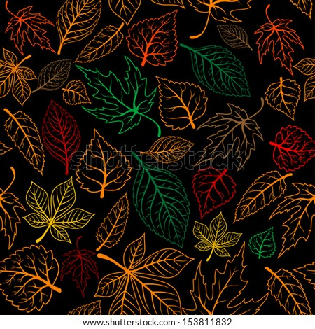 Autumnal leaves seamless background for seasonal design. Jpeg version also available in gallery - stock vector