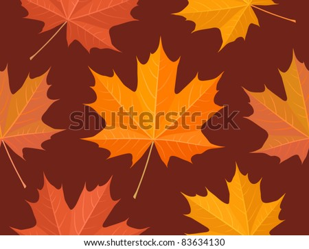 Autumnal maple leaves, seamless wallpaper pattern