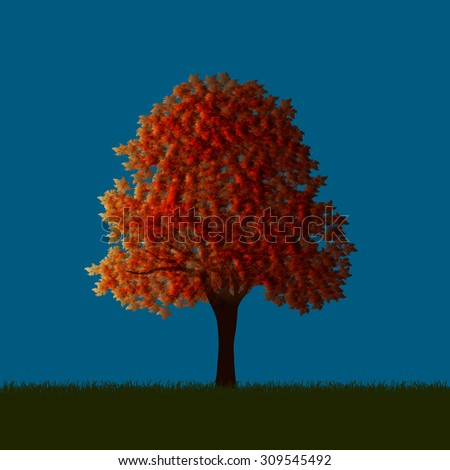 Autumnal maple. Vector EPS10 - stock vector