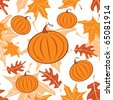 Autumnal seamless pattern with pumpkins. Vector illustration. - stock vector