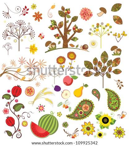 Autumnal set - stock vector