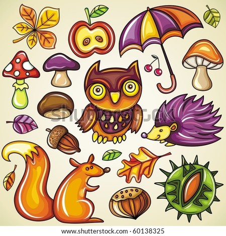 Autumnal set - stock vector