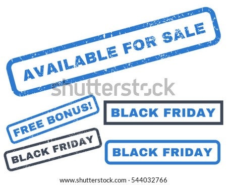 Available For Sale rubber seal stamp watermark with additional design elements for Black Friday offers. Vector smooth blue stickers. Text inside rectangular banner with grunge design and dust texture.