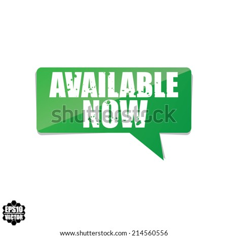 Available Now Green Label Vector Design.  - stock vector