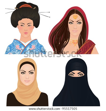 Avatar Icon set: asian woman portrait clipart vector illustrations: Japanese, Indian and a Muslim girls. - stock vector