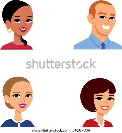 Avatar Icon SET 13 - Cartoon portrait clipart illustration Collection. - stock vector