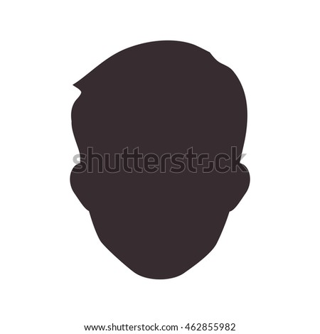 Avatar male concept represented by man head silhouette icon. Isolated and flat illustration