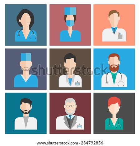 avatar medical icons. female and male doctors - stock vector