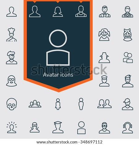 avatar outline, thin, flat, digital icon set for web and mobile - stock vector