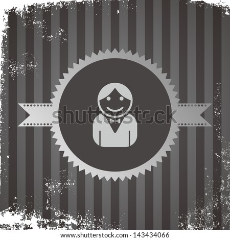 avatar portrait icon vintage grungy employee - stock vector