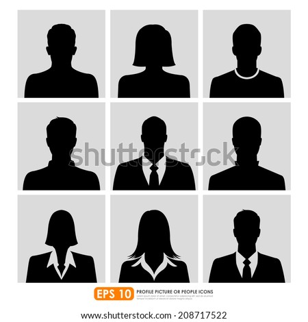 Avatar profile picture icon set including male, female & businesspeople - stock vector
